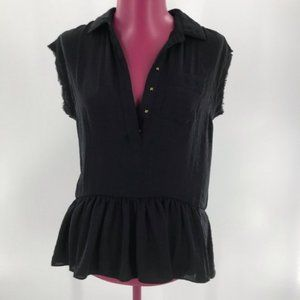 Rebecca Taylor Snap Front Collared Blouse sz 0